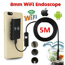 WIFI Endoscope 5m 8mm Borescope Inspection Camera For Android iPhone Waterproof