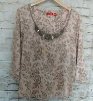 ELLE Womens Top Sz XL Pink Gray Floral Rhinestone Sequin Embellished Scoop Neck