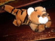 """Tiger Aurora World long strap Paws Brown Bengal Stuffed Plush 6"""" laying"""