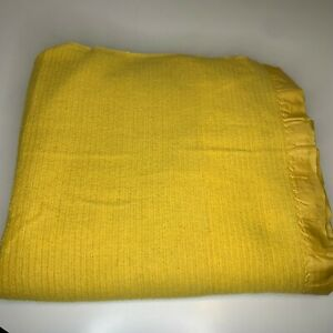 Vintage Waffle Weave Blanket Color Yellow Satin Trim Thermal Cover