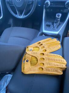 Driving Leather Gloves Yellow Handmade Handsewn Hungant