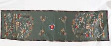 """Antique Chinese Silk Embroidery Panel 54"""" Green Table Runner Landscape Floral"""