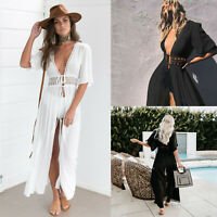 Women's Bathing Suit Cover Up Lace Boho Beach Maxi Summer Bikini Sundress Dress