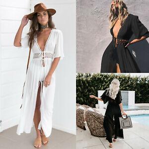 Women's Bathing Suit Cover Up Lace Boho Beach Maxi Summer Bikini Sundress Dress