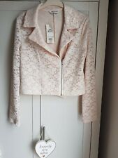 New Miss Selfridge Pink White Lace Embroidered Jacket Coat Blazer 10 NWT RRP £39