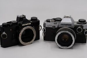 Olympus OM-1N AND OM10 35mm SLR Film Camera Bodys FOR PARTS USA