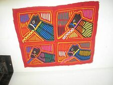 """Vintage Mola Panama Hand Made  Tapestry 10"""" x 13"""" quilted Embroidery"""