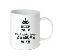 Coffee Cup Mug Travel 11 15 oz Keep Calm My Husband Has Awesome Wife