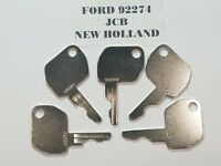 (5) Ford Keys Fits JCB New Holland, Backhoes Heavy Equipment 92274 Fast Shipping