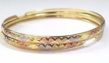 14k Tri Color Gold Big 63 mm Heart Design 4.3 mm Hoop Earrings Womens