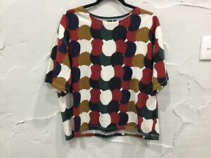 MARIMEKKO x UNI QLO short sleeve wide neck T - SHIRT TOP...size L