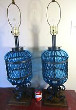 """PR,RARE,HUGE 36"""",Vtg.Blue Glass Wrought Iron Spanish Table Lamps,Gothic,Medieval"""