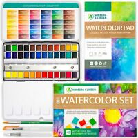 LG40 Watercolor Paint Set - 36 Colors, 12-Sheet Paper Pad, 2 Refillable Brushes