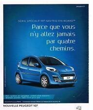 PUBLICITE ADVERTISING   2012   PEUGEOT 107    spéciale NAVTEQ ON BOARD
