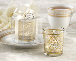 48 Gold Renaissance Glass Tea Light Candle Holder Wedding Favor in Gift Box