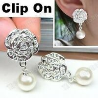 CLIP ON rhinestone PEARL&CRYSTAL diamante ROSE drop EARRINGS silver plated big