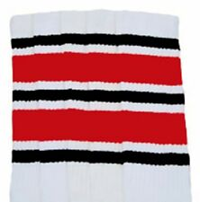 "22"" KNEE HIGH WHITE tube socks with BLACK/RED stripes style 6 (22-131)"