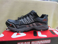 New Fila Tractile Mens Size 8 Trail Running Shoes Black/Gray/Silver 1SH4014-054