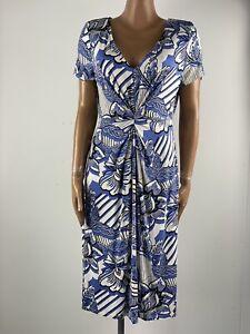 RJR JOHN ROCHA Blue & White Ruched Waist Stretch Jersey Blue & White Dress 14