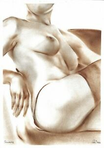 original drawing A3 33GZ art samovar oil dry brush female nude Signed 2020