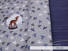 """Jersey-Stoff Kinder Baby Mädchen Reh Rehkitz Rehe grau """"tilda #cold"""" Panel 0,80m"""