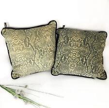 Newport snakeskin print throw pillows set of 2 tan gray black velvet back animal