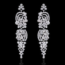 GORGEOUS WHITE GOLD PLATED CLEAR CUBIC ZIRCONIA LONG DANGLE STATEMENT EARRINGS