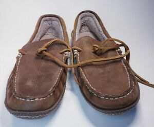 L.L. BEAN Brown Leather MOCCASINS Shoes Slippers Men's Size 8 Medium