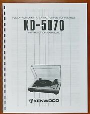 Kenwood KD-5070 Turntable Owners Manual
