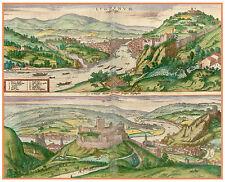 Lyon Vienne Isère Rhône-Alpes France bird's-eye view map Hogenberg ca.1598