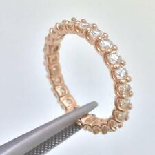 14k Pink Rose Gold 1.20ct Diamond Eternity Wedding Band Stackable Ring Size 6