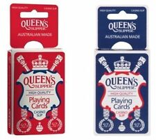 2 Decks Queen's SLIPPER Playing Cards Red & Blue 90th Anniversary Ltd Edition