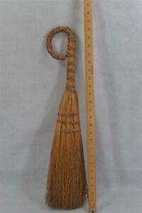 early old hand made fireplace brush broom hand broom corn bristle 19th original
