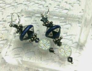 Good Night Moon Vintage Ceramic Bead Glass Moon Sterling Silver Earrings