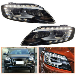 For Audi Q7 Headlamps 2007-2015 HID Projector LED DRL Replace OEM Headlight