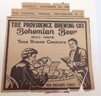 Antique Pre Pro Providence Brewing Co. Bohemian Beer Ad Rhode Island 1909