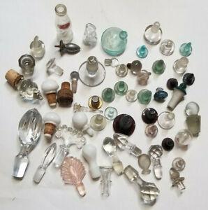 Lot 50+ Vintage Glass & Ornate Crystal Decanter Bottle Cruet Medicine Stoppers