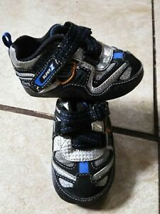 Skechers Black Silver Super Z Turbo Leather Fabric Baby Boys Sneakers Shoes Sz 3