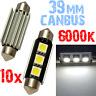 10 Ampoule Navette 39mm 6000k LED 5050 Blanc Plafonnier coffre 12V PLAQUE 2C12 2