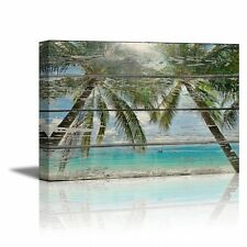 "Canvas- Tropical Beach with Palm Trees on Vintage Wood Background - 24"" x 36"""
