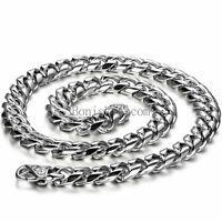Heavy Silver Stainless Steel Mechanic Bicycle Curb Cuban Men's Chain Necklace