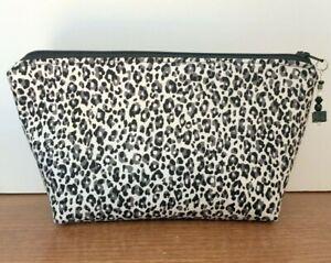 Zippered Pouch, Leopard Print, Black & Gray Makeup Bag, Purse, Travel Pouch Gift