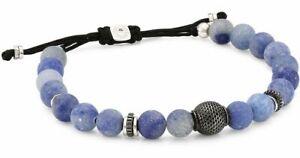 New Tateossian Macramé Blue Aventurine Beaded Sterling Silver Bracelet
