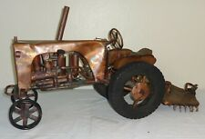 Unusual Folk Art Hand Made Model of a tractor Copper & Various Metals COOL!