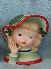 VINTAGE LITTLE GIRL  CHRISTMAS  6 1/2 INCH HEAD VASE HEADVASE