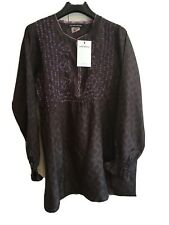 BNWT Antik Batik Sz L Uk 14, Silk Kaftan Top Blouse. Black Plum. £315. STUNNING!