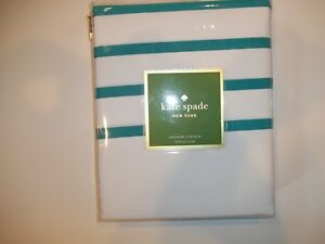 KATE SPADE White and Turquoise Harbour Stripe Fabric SHOWER CURTAIN 72 X 72 NEW
