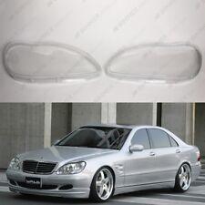 Mercedes S W220 OEM Headlight Glass Headlamp Lens Plastic Cover (PAIR)