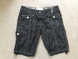 Ladies Next Black Cargo Shorts Size 14