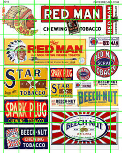 2019 DAVE'S DECALS HO O VINTAGE CHEWING TOBACCO SIGNAGE ADVERTISING RED MAN STAR